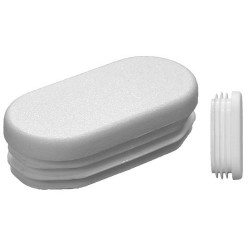 Embouts ovales pour tube Ext. 40x20 mm Ep. 0,8-3 - Blanc