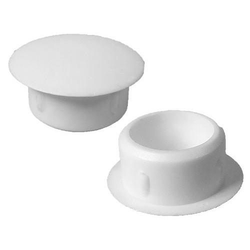 Caps à dessus plat Diam ext. 12 Col. 18 Ht. 8,4 mm - PE Blanc