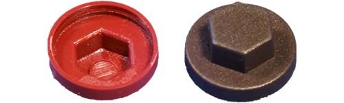 Cache-écrou hexagonal et rondelle gris
