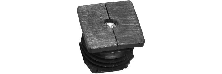 Square tube insert metal thread bouchon plastique