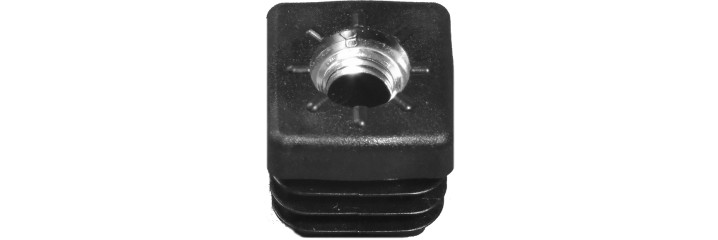 Square tube insert around injection moulded metal thread