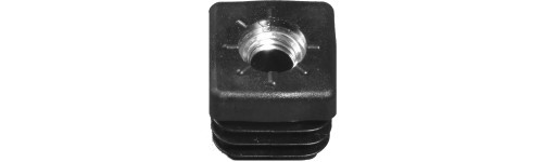 Square tube insert - Around injection moulded metal thread