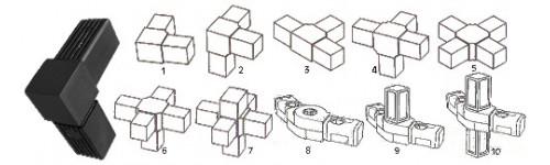 Raccords et jonctions pour tube carré noir