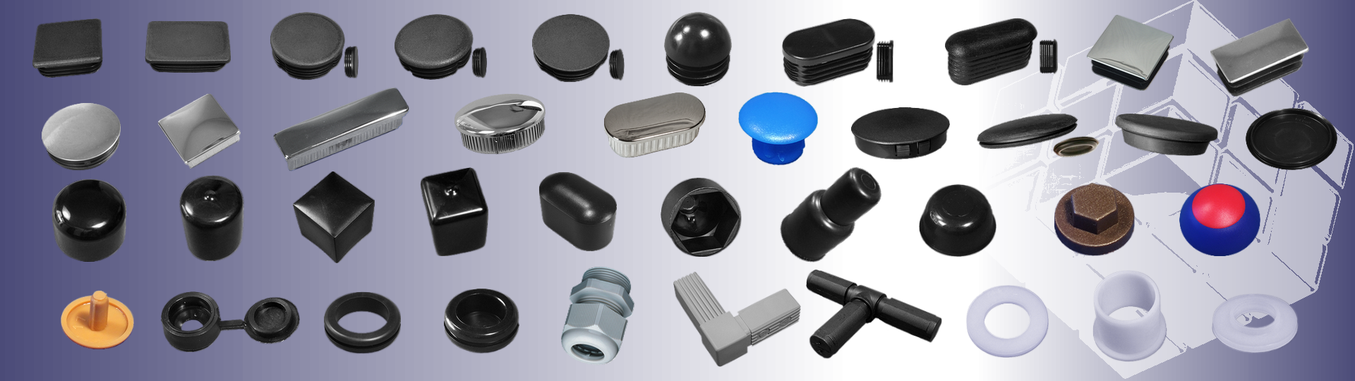 for tubes, blanking, end caps, bolts, nuts; screws, grommets.