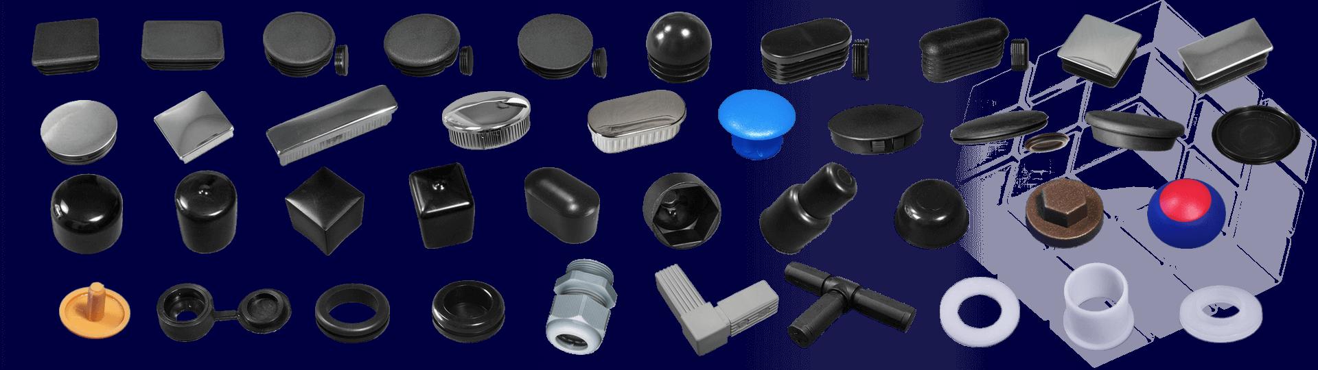 pour tubes, cache tôles, embouts recouvrants, cache écrous, cache vis, passe-fils.