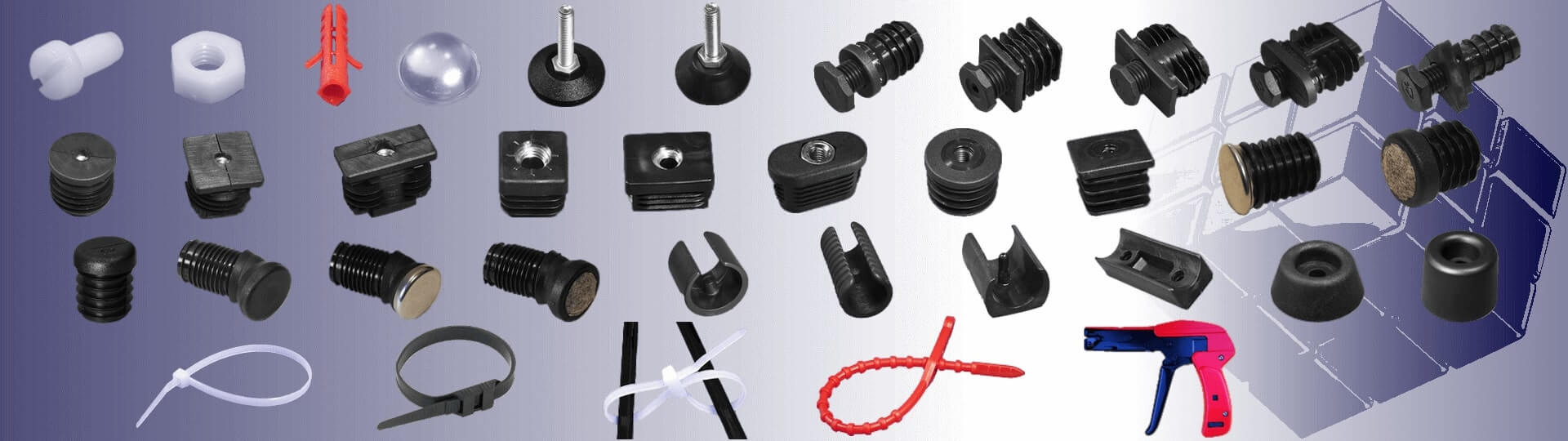 Connectors, screws, bumpers, feet, sliders, cable ties, dowels.