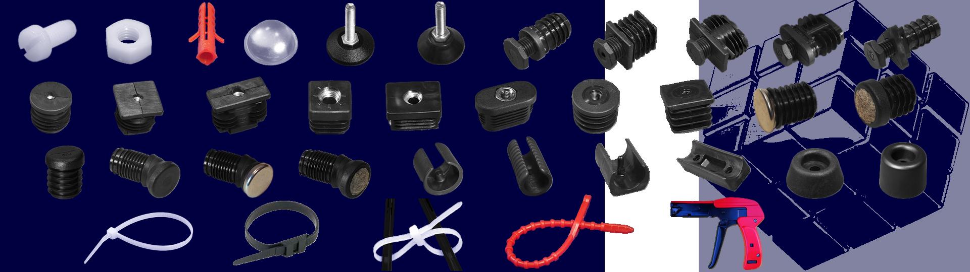 Connectors, screws, bumpers, feet, sliders, cable ties, dowels.